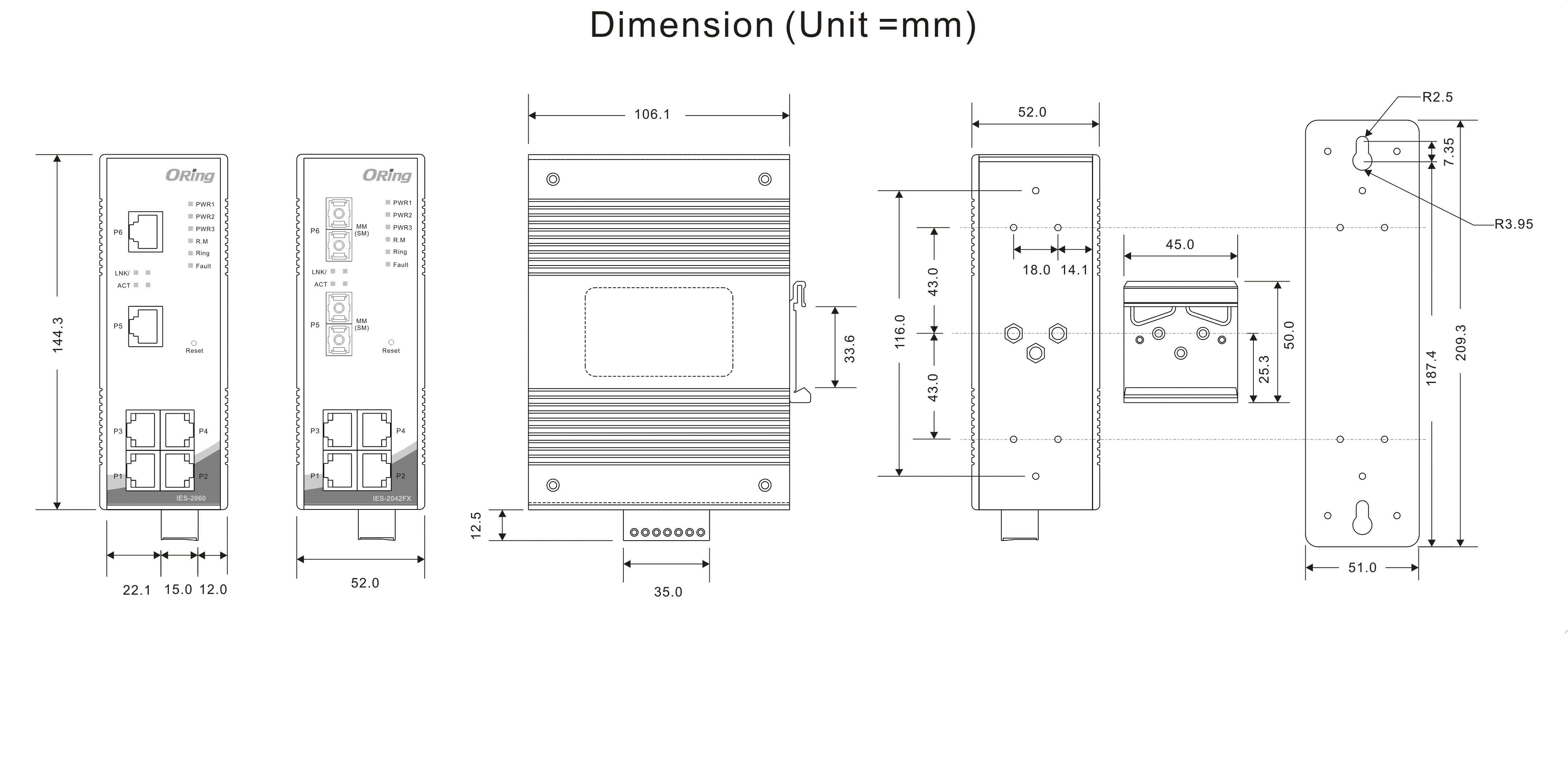 电源输入              12~48vdc 冗余电源 7-pin 接线