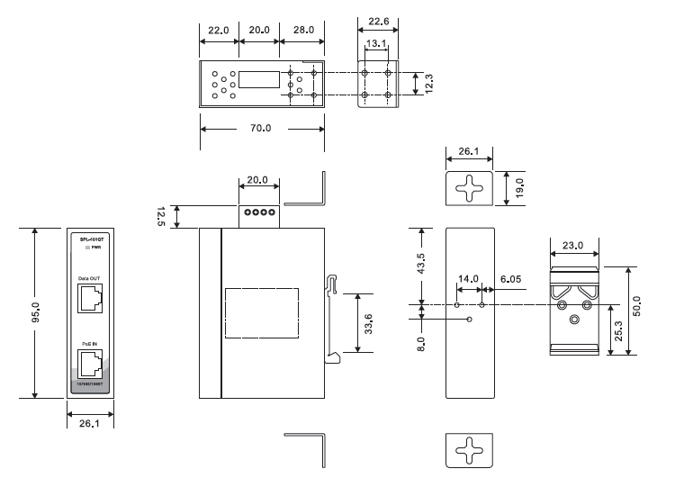 spl-101gt系列高功率poe分离器,通过把poe输入的电源和数据传输